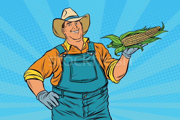 Rural farmer with an ear of corn Stock photo © studiostoks