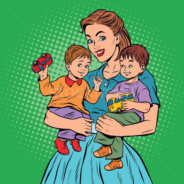小さな レトロな ママ 2 子供 男の子 ストックフォト © studiostoks