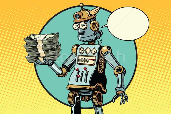 Retro robot pénz póz pop art üzlet Stock fotó © studiostoks