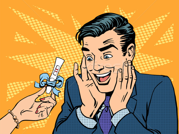 Teste de gravidez dois tiras homem feliz saúde Foto stock © studiostoks