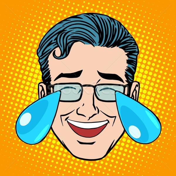 Retro lágrimas alegría hombre cara arte pop Foto stock © studiostoks