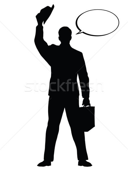 Merhaba işadamı şapka jest siyah siluet Stok fotoğraf © studiostoks