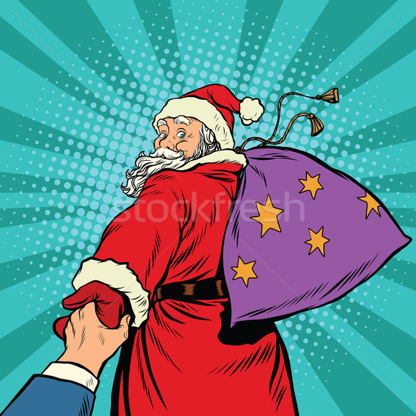 follow me, Santa Claus with gifts New year Christmas Stock photo © studiostoks