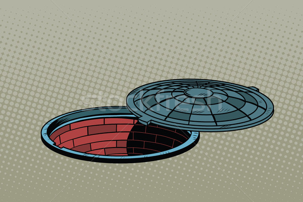 Opened street manhole. Realistic illustration Stock photo © studiostoks
