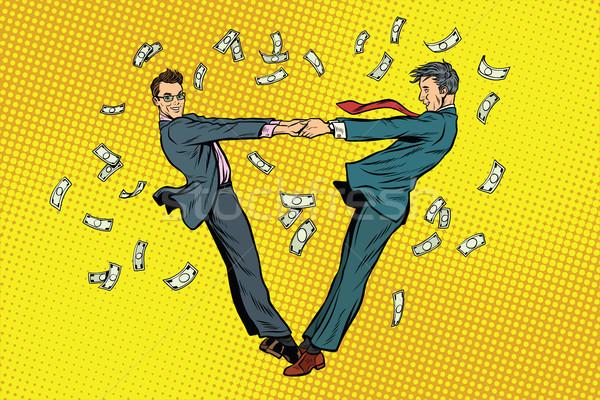 Dos empresarios felizmente baile dinero arte pop Foto stock © studiostoks