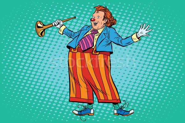Circus clown heldere kleding pop art retro-stijl Stockfoto © studiostoks