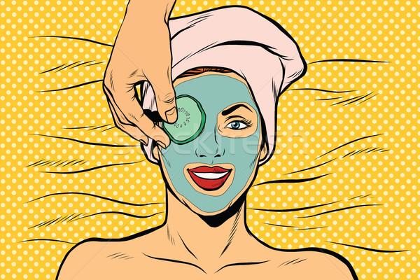Cucumber mask on woman face, skin beauty Stock photo © studiostoks
