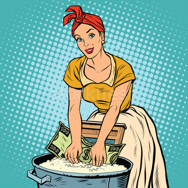 money laundering business concept, retro woman washes the dollar Stock photo © studiostoks