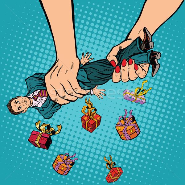 Female hands squeeze men gifts Stock photo © studiostoks