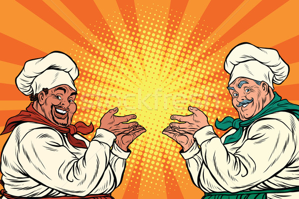 multi-ethnic chefs in the pose of a promoter Stock photo © studiostoks