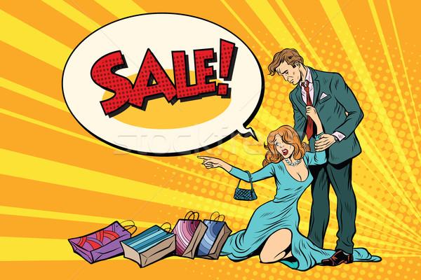 Moglie marito vendita pop art retro business Foto d'archivio © studiostoks