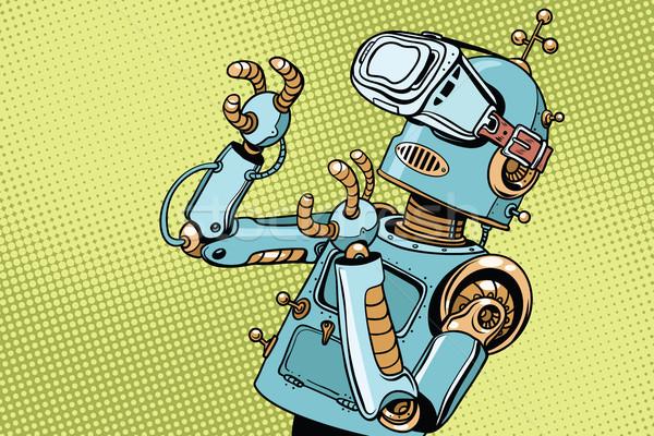 Scared retro robot in VR glasses Stock photo © studiostoks