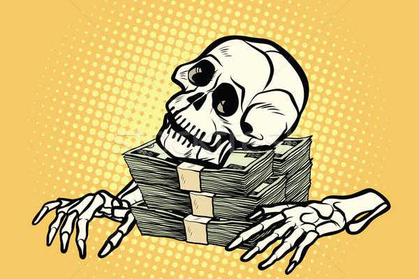 Csontváz koponya dollár pénz vagyon kapzsiság Stock fotó © studiostoks