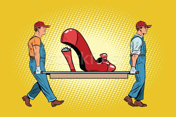 Schoenen hiel werknemers reparatie pop art Stockfoto © studiostoks