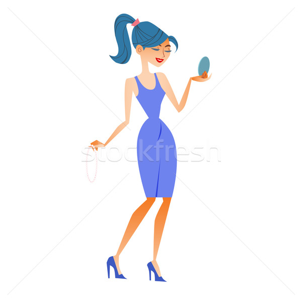 woman fashionista sees itself mirror tries jewels Stock photo © studiostoks