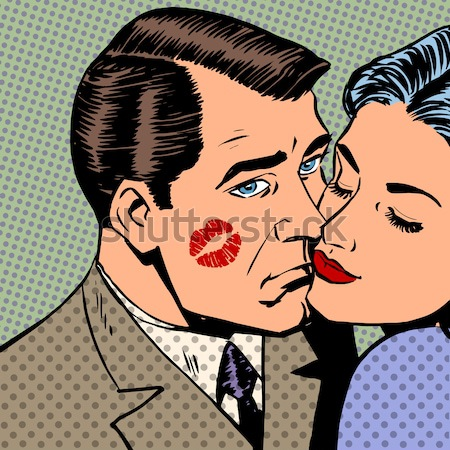 Woman hugging a sad man style pop art retro Stock photo © studiostoks