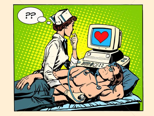 Love heart nurse and patient Stock photo © studiostoks