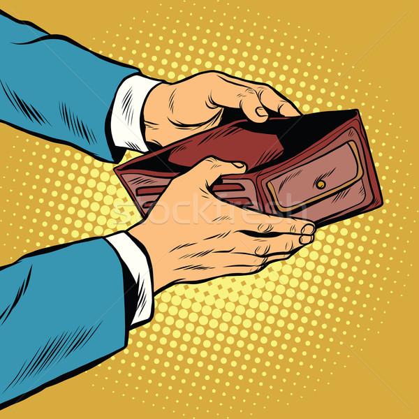 üres pénztárca nincs pénz pop art retro pénzügy Stock fotó © studiostoks