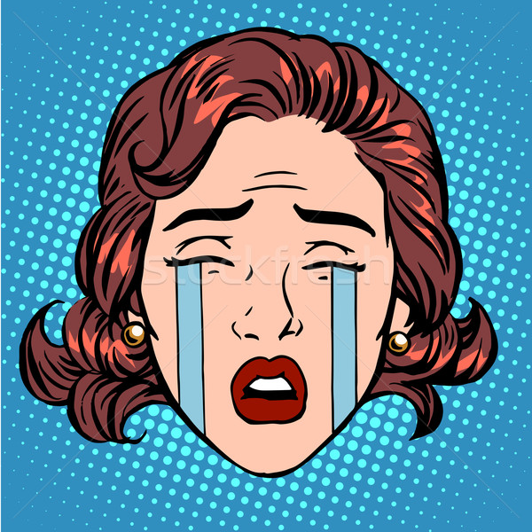 Retro lágrimas llorando dolor rostro de mujer arte pop Foto stock © studiostoks