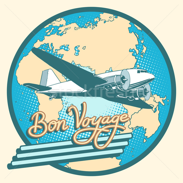Bon voyage abstract retro plane poster Stock photo © studiostoks