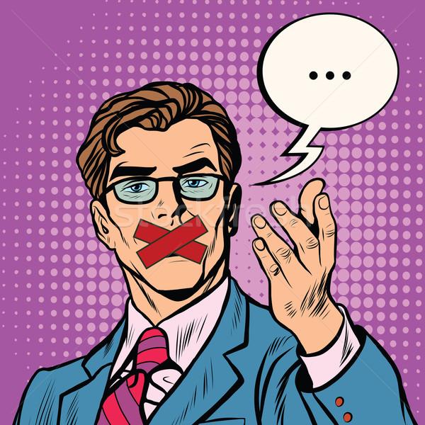 Adam ağız pop art Retro vektör sansür Stok fotoğraf © studiostoks