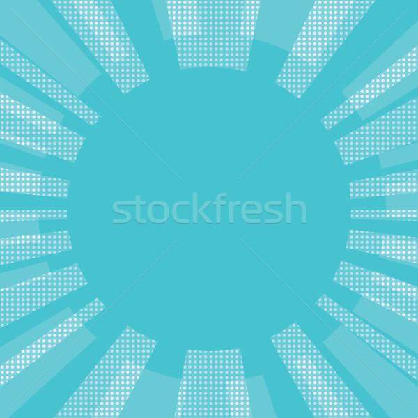 Blauw komische retro zon pop art tekening Stockfoto © studiostoks