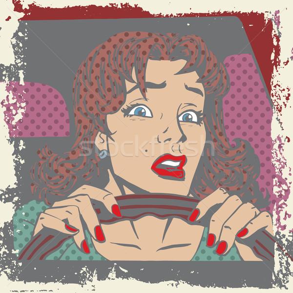 Assustado mulher motorista atrás roda carro Foto stock © studiostoks
