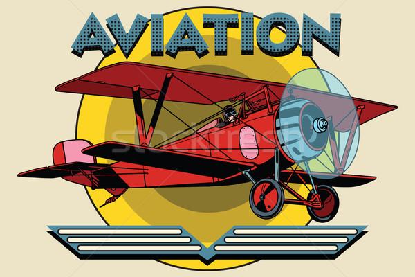 Retro two-winged plane aviation poster Stock photo © studiostoks