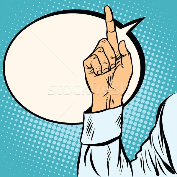 Сток-фото: один · указательный · палец · вверх · жест · Поп-арт · ретро