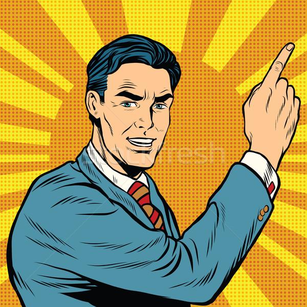 男性 指 点数 レトロな ポップアート コミック ストックフォト © studiostoks