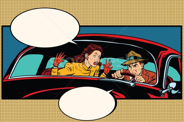 Сток-фото: муж · жена · ссориться · автомобилей · Поп-арт · ретро