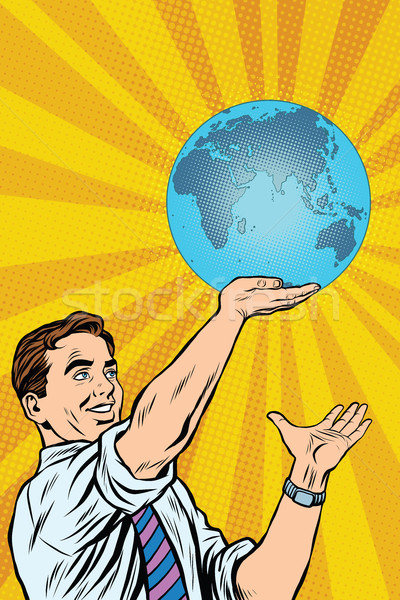Stockfoto: Man · aarde · hand · pop · art · retro