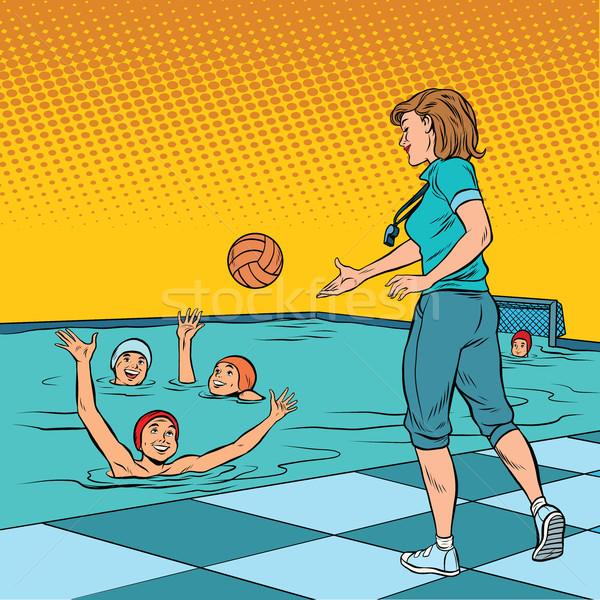 Coach jouer enfants sport water-polo pop art Photo stock © studiostoks