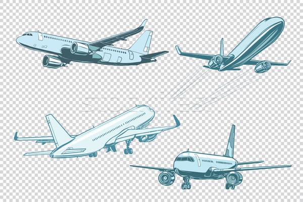 Stock photo: Set of passenger airplanes