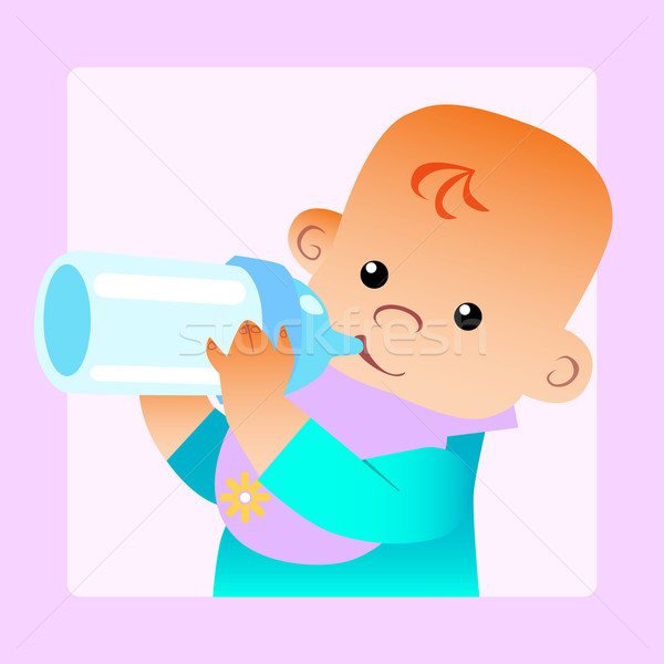 Baby eats food milk bottle Stock photo © studiostoks