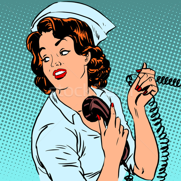 Nővér kórház telefon egészség orvosi műtét Stock fotó © studiostoks