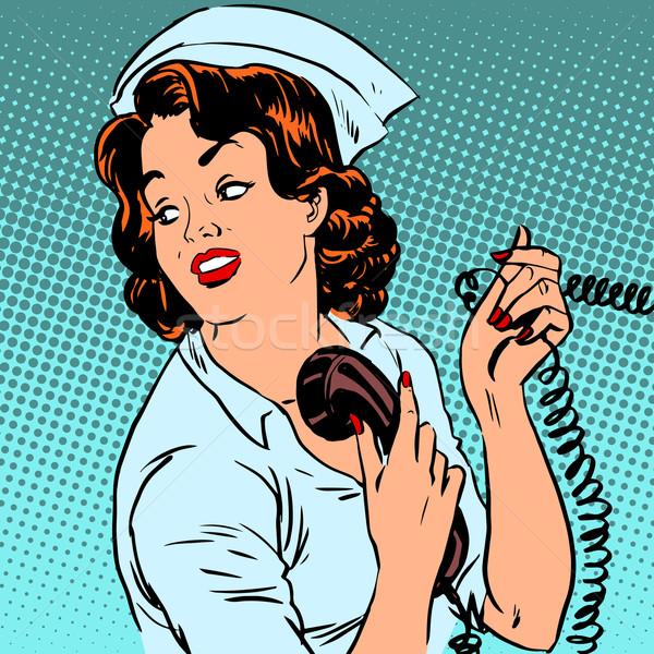 Nurse hospital phone health medical surgery style pop art retro Stock photo © studiostoks