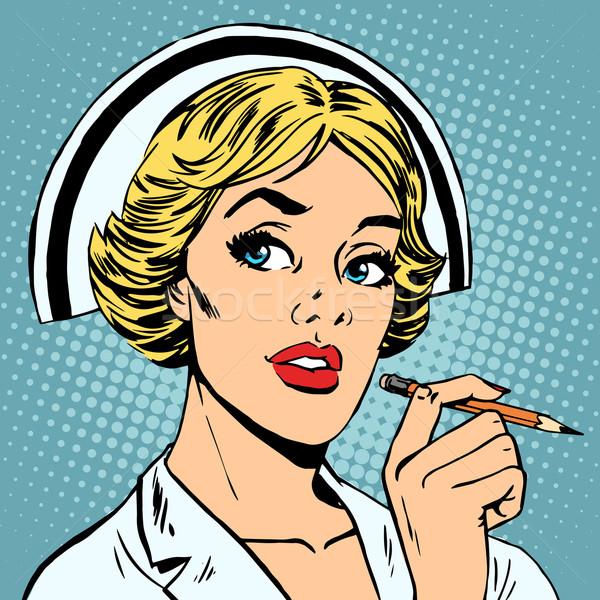 Nővér diagnózis lefelé gyógyszer egészség hivatás Stock fotó © studiostoks
