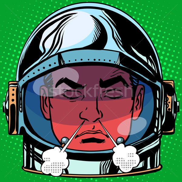 emoticon anger rage Emoji face man astronaut retro Stock photo © studiostoks