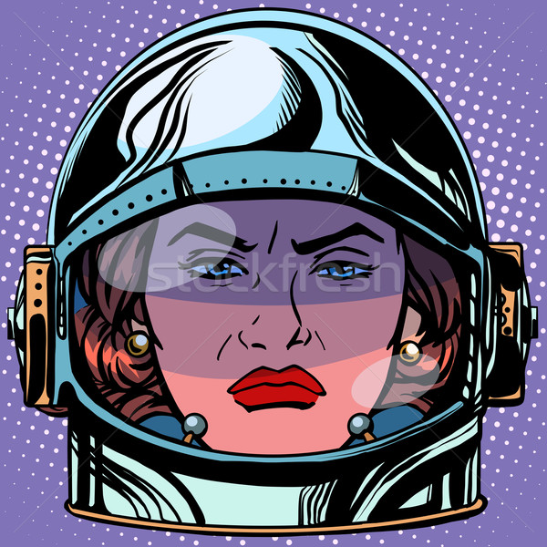emoticon rage Emoji face woman astronaut retro Stock photo © studiostoks