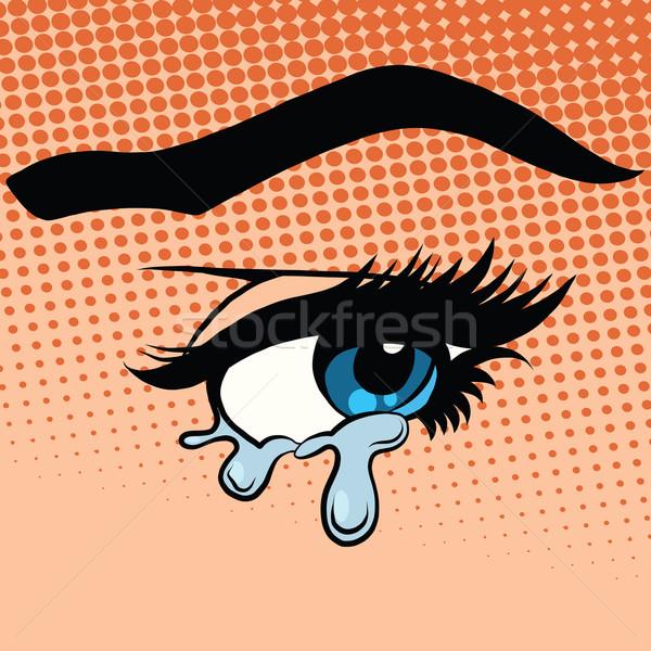 Mujer ojos lágrimas llorando arte pop estilo retro Foto stock © studiostoks