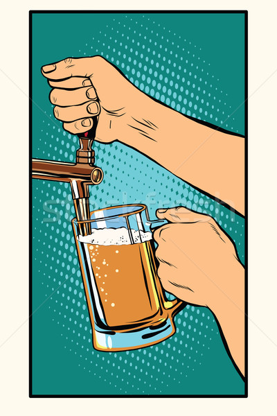 The bartender pours a glass of beer Stock photo © studiostoks