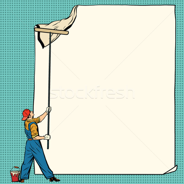 worker painter sticks white poster Stock photo © studiostoks