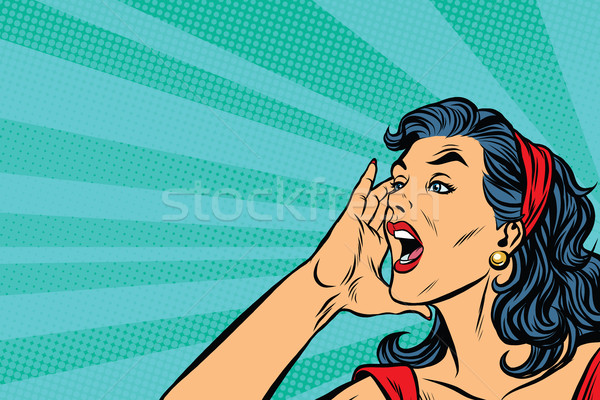Pop art retro girl screams Stock photo © studiostoks