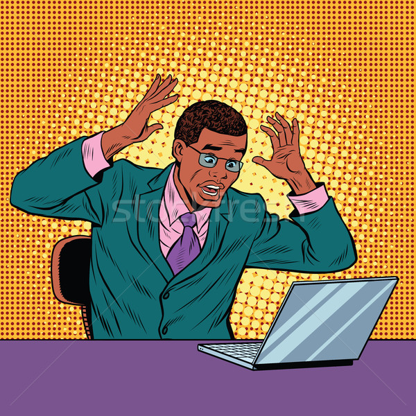 Businessman in panic, reading notebook Stock photo © studiostoks