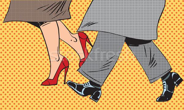 Ayaklar adam kadın ayakkabı kötü hava sokak Stok fotoğraf © studiostoks