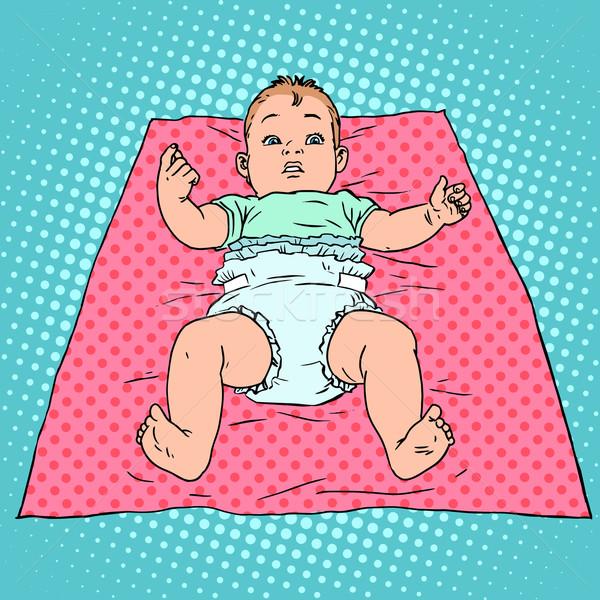 Meglepődött baba pelenka gyermekkor gyermekgondozás pop art Stock fotó © studiostoks