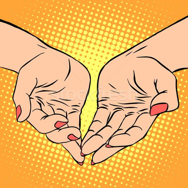 Stock fotó: Kéz · szív · alak · szeretet · románc · valentin · nap · pop · art