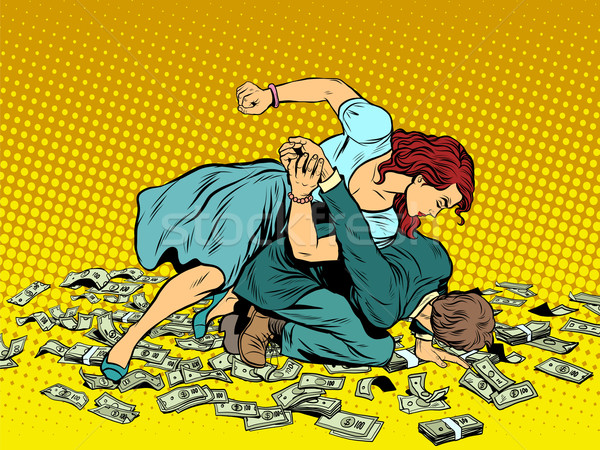 Woman beats man in fight for the money Stock photo © studiostoks