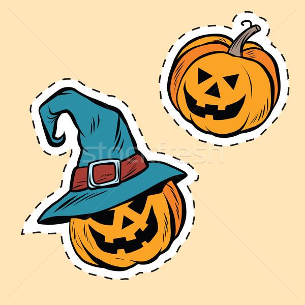 Stock photo: Set of stickers Halloween evil pumpkin